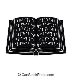 Book written in braille icon in black style isolated on...