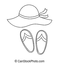 Beach hat with flip-flops icon in outline style isolated on white background. Family holiday symbol stock vector illustration.