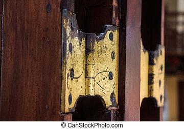 Old door hinge - Close-up old door hinge on wooden door.