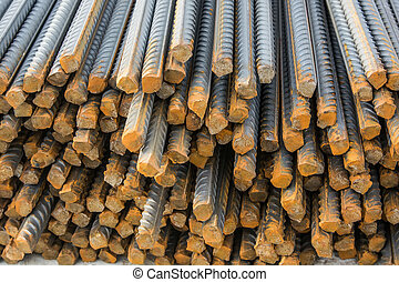 Stack of construction armature - Close-up photo of stack of...