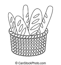 Basket of baguette icon in outline style isolated on white background. France country symbol stock vector illustration.