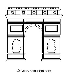 Triumphal arch icon in outline style isolated on white...