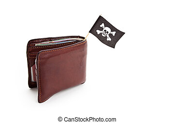 Pirate Flag and Wallet, concept of business crime
