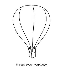 Airballoon icon in outline style isolated on white...