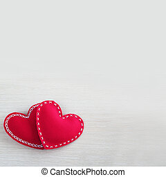 Valentines day hearts on wooden background with copy space