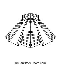 Chichen Itza icon in outline style isolated on white...