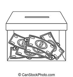 Donation moneybox icon in outline style isolated on white...
