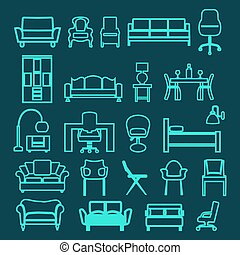Vector Set of Fashion  interior outline  icons