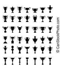 silhouettes of trophy cups