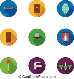 Furniture set icons in flat style. Big collection of...