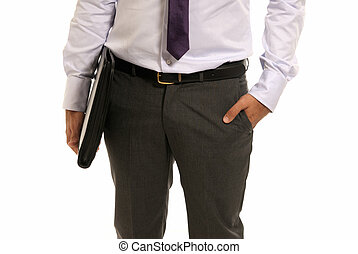 Unrecognizable businessman with suitcase close-up isolated on white background