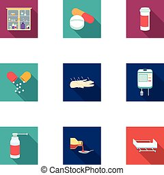 Medicine and hospital set icons in flat style. Big...