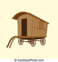 wooden vintage Gypsy caravan wagon, flat design vector