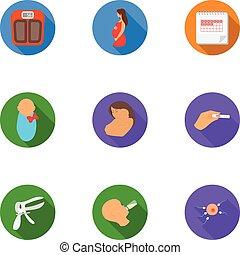wohnung, satz, heiligenbilder, groß,  symbol, Sammlung, vektor, abbildung, Schwangerschaft, Stil, Bestand