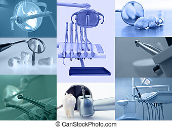 Dental background - Set of dental images blue tinted