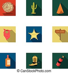 Wild west set icons in flat style. Big collection of wild...