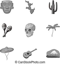 Mexico country set icons in monochrome style. Big collection...