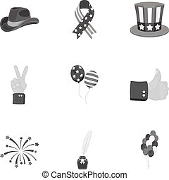 Patriot Day set icons in monochrome style. Big collection of Patriot Day vector symbol stock illustration