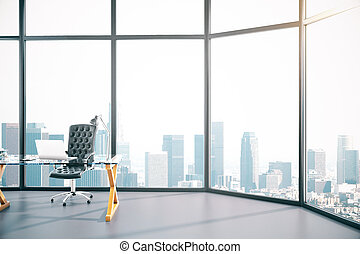 Modern conference room interior with laptop on table. 3D...
