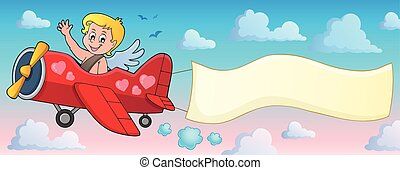 Airplane with Cupid theme