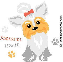 Vector funny Yorkshire terrier dog sitting