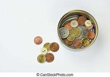 Alms in a tin