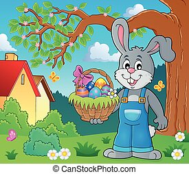 Bunny holding Easter basket theme