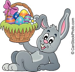 Bunny holding Easter basket illustration.