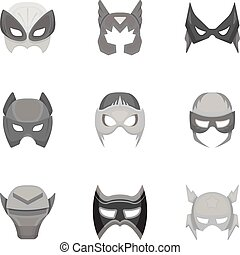 Superhero mask set icons in monochrome style. Big collection...