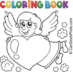 Coloring book Cupid illustration.