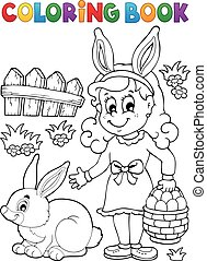 Coloring book Easter illustration.