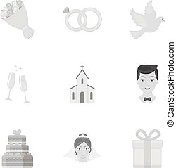 Weeding set icons in monochrome style. Big collection of wedding vector symbol stock illustration