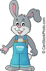 Happy bunny in overalls - eps10 vector illustration.