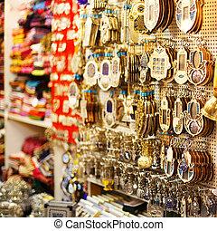 Souvenirs at Jerusalem bazaar, hamsa or khamsa symbol of...