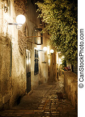 Old town Jaffa street in the evening. Israel, Tel-Aviv...