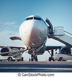 Baggage is loading into of the aircraft - Preflight service,...