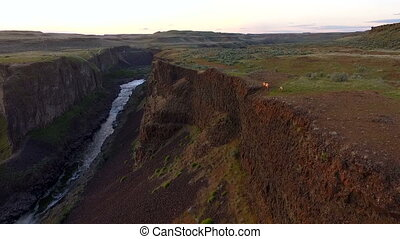 Palouse Falls Ridge Snake River Wild Mountain Goats Running...