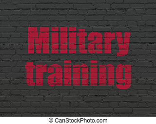 Learning concept: Military Training on wall background