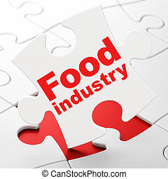Manufacuring concept: Food Industry on puzzle background -...