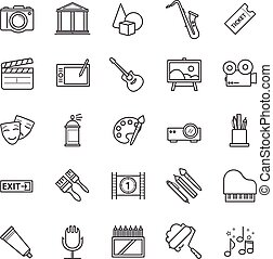 Line icons set - art, entertament, drawning tools