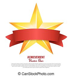 Achievement Vector Star With Red Ribbon. Yellow Sign  Place For Text. Golden Decoration Symbol. 3d Shine Icon Isolated On White Background.