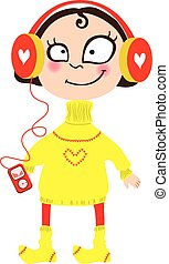 Cartoon girl in a yellow sweater and wool socks. In the headphones with the player