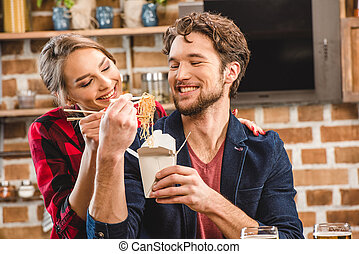 couple spending time together - Happy couple spending time...