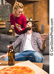 couple spending time together - Happy couple with beer and...