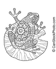 Frog coloring book vector illustration. Anti-stress coloring...