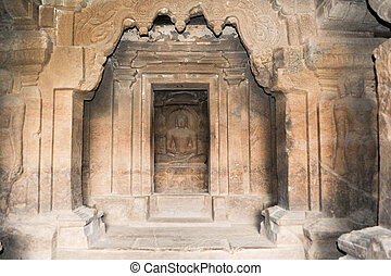 Statue of Buddha on Ellora caves near Aurangabad in India -...