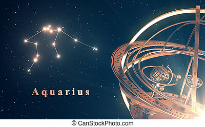 Zodiac Constellation Aquarius And Armillary Sphere Over Blue...