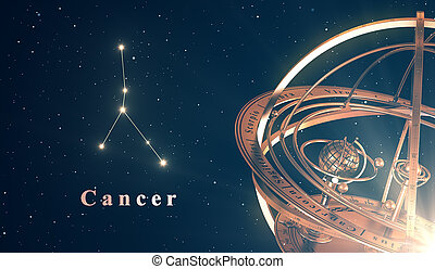 Zodiac Constellation Cancer And Armillary Sphere Over Blue...