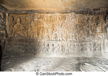 Statues on Ellora caves near Aurangabad in India - Statues...