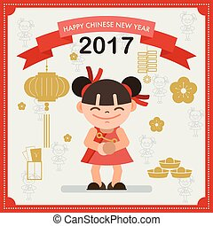 Happy Chinese new year 2017 card concept. Chinese girl....
